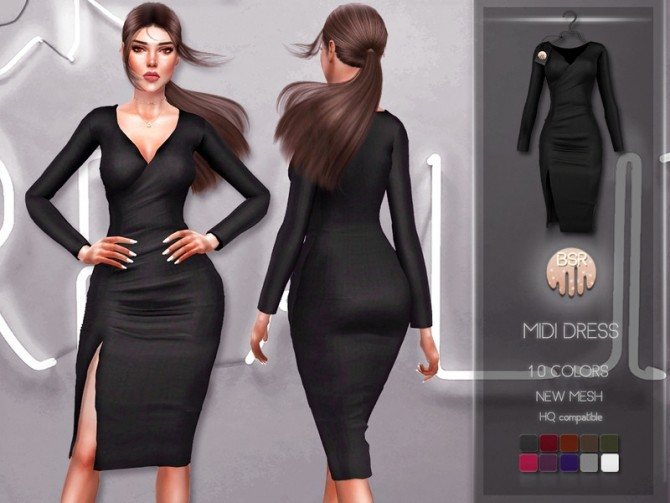 Sims 4 Midi Dress BD218 by busra tr at TSR