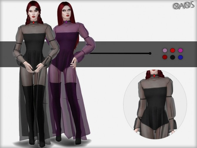 Sims 4 Transparent Dress With Choker by OranosTR at TSR