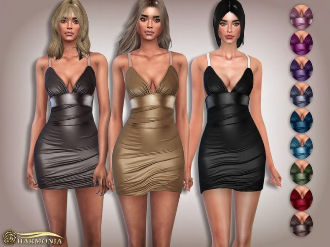 Sims 4 PU Clear Strap Ruched Bodycon Dress by Harmonia at TSR