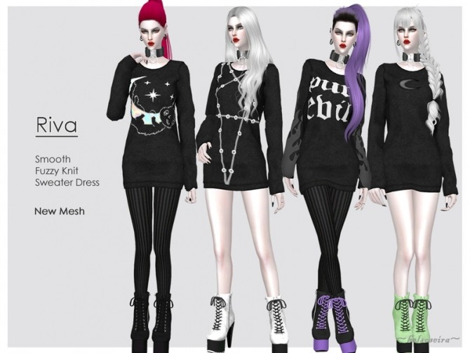 Sims 4 RIVA Witch Sweater Dress by Helsoseira at TSR