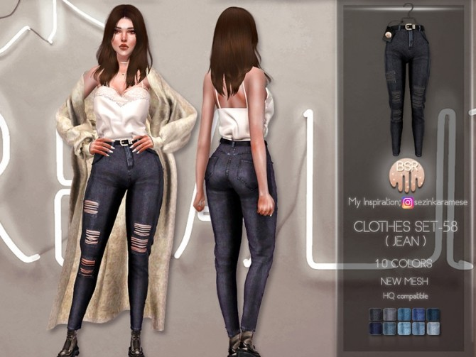 Sims 4 Clothes SET 58 (JEANS) BD228 by busra tr at TSR