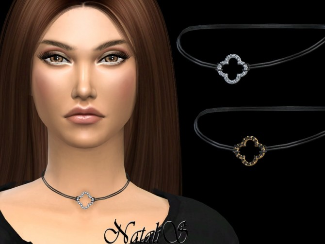 Sims 4 Open clover choker by NataliS at TSR