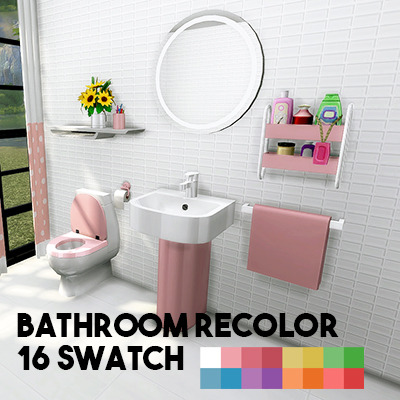 Sims 4 Cutie bathroom recolor at L.Sim