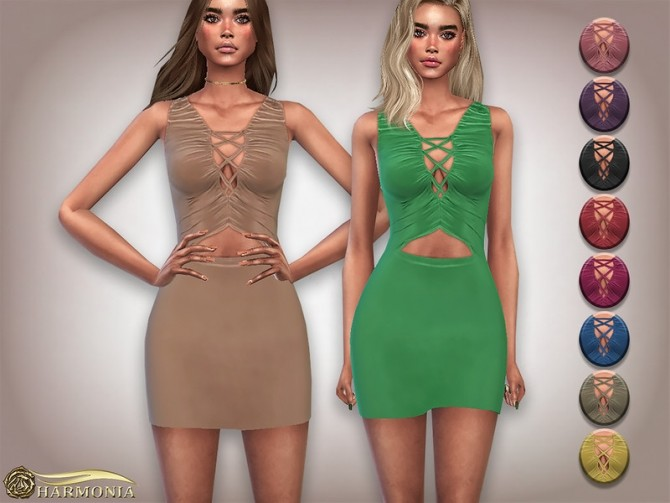 Sims 4 Slinky Lace Up Bust Detail Ruched Dress by Harmonia at TSR