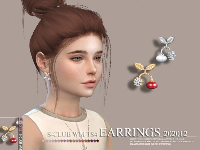 Sims 4 EARRINGS 202011 by S Club WM at TSR
