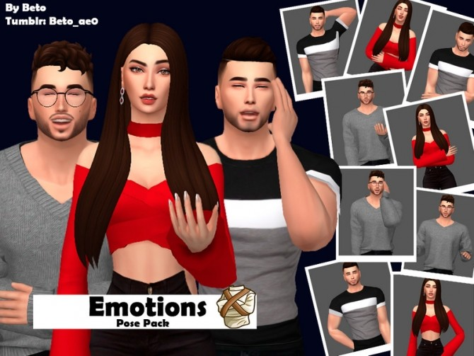 Sims 4 Emotions Pose Pack by Beto ae0 at TSR