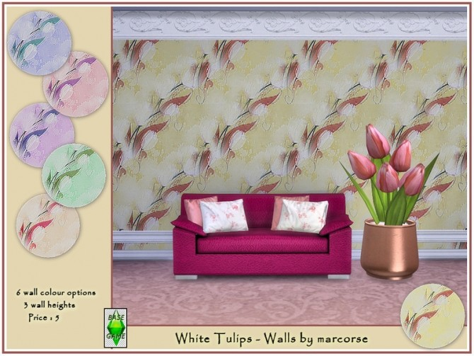 Sims 4 White Tulips Walls by marcorse at TSR