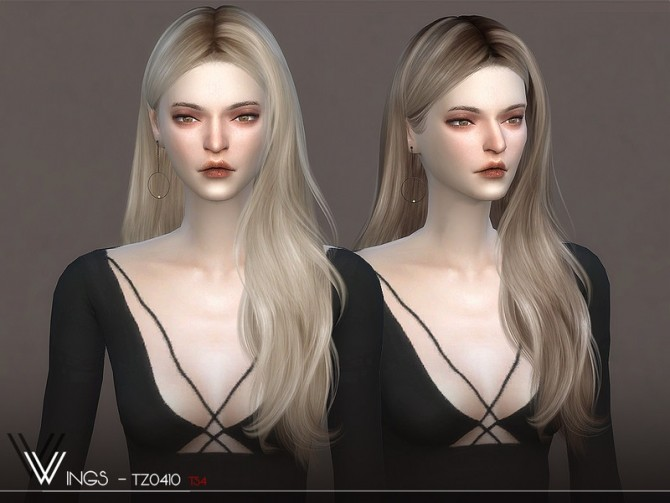 Sims 4 WINGS TZ0410 hair by wingssims at TSR