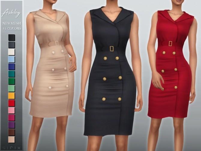 Sims 4 Ashley Dress by Sifix at TSR