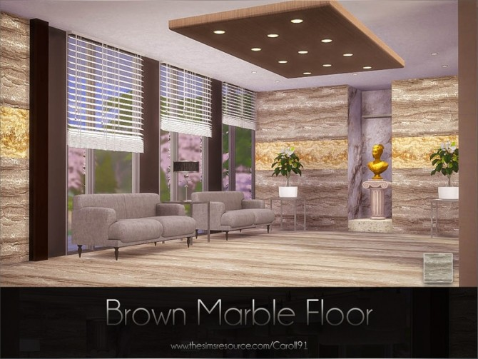 Sims 4 Brown Marble Floor by Caroll91 at TSR