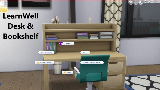 Sims 4 LearnWell Desk & Bookshelf by EynSims at Mod The Sims