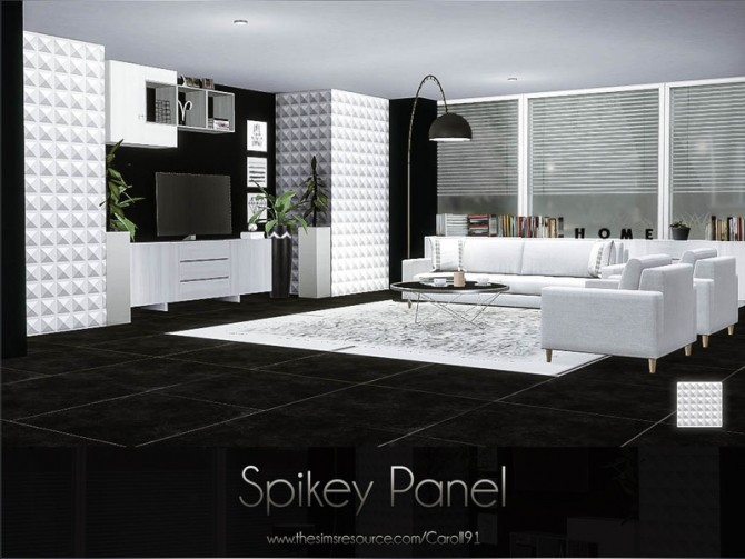 Sims 4 Spikey single recolour studded wall panel in white by Caroll91 at TSR
