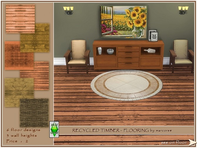 Sims 4 Recycled Timber Flooring by marcorse at TSR
