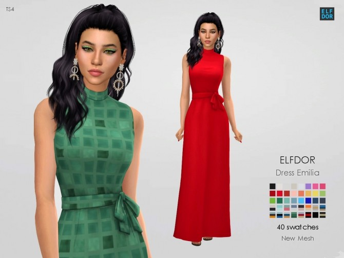 Sims 4 Dress Emilia at Elfdor Sims