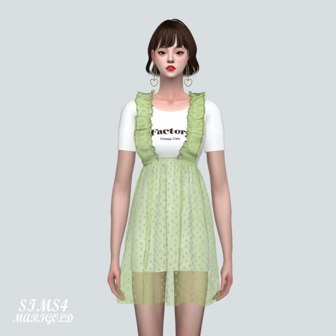 Spring Chiffon Suspender Frill Mini Dress Dot V at Marigold image 825 670x670 Sims 4 Updates
