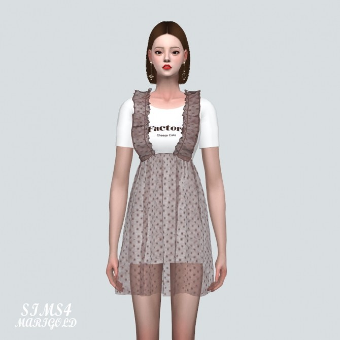 Spring Chiffon Suspender Frill Mini Dress Dot V at Marigold image 835 670x670 Sims 4 Updates