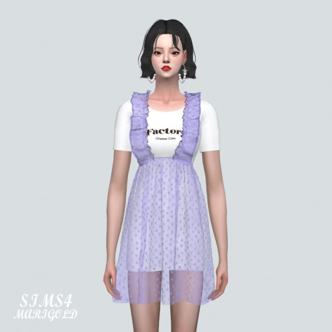 Spring Chiffon Suspender Frill Mini Dress Dot V at Marigold image 845 670x670 Sims 4 Updates