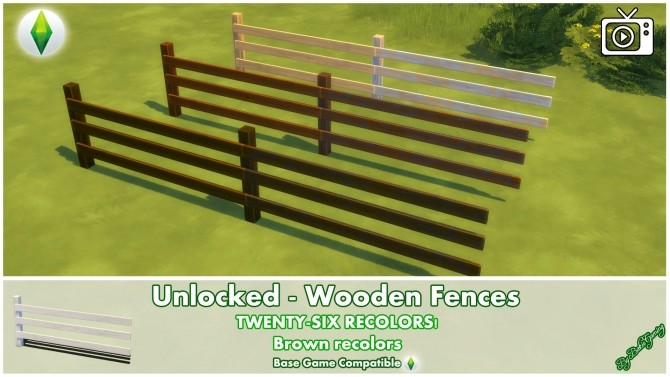 Sims 4 Unlocked Wooden Fences by Bakie at Mod The Sims