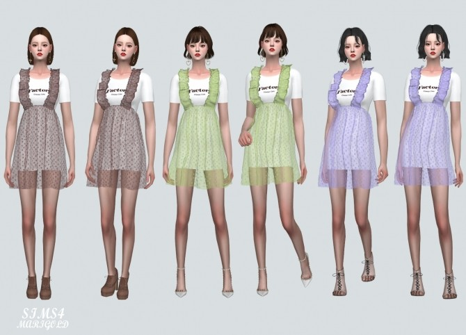 Spring Chiffon Suspender Frill Mini Dress Dot V at Marigold image 865 670x482 Sims 4 Updates
