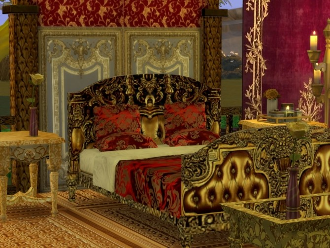 Golden World Set, Bed & End Table at Anna Quinn Stories image 875 670x503 Sims 4 Updates