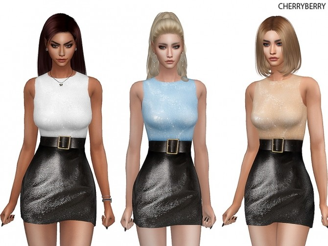 Sims 4 Faux Leather Dress at Cherryberry