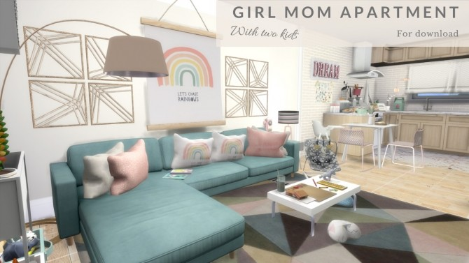 GIRL MOM APARTMENT WITH TWO KIDS at Dinha Gamer image 892 670x377 Sims 4 Updates