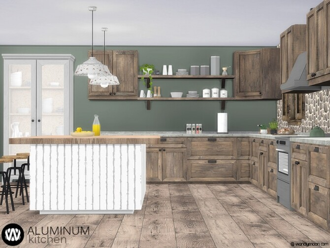 Sims 4 Aluminum Kitchen by wondymoon at TSR