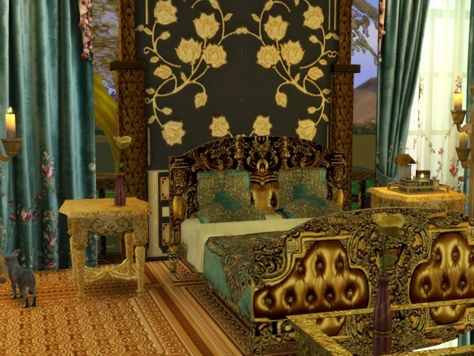 Sims 4 Golden World Set, Bed & End Table at Anna Quinn Stories
