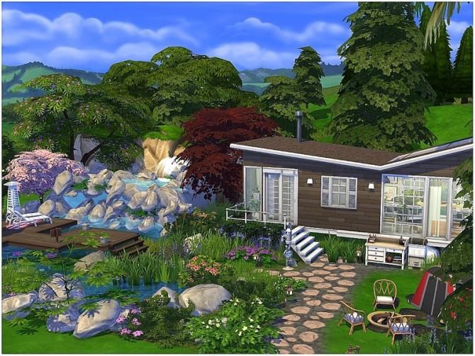 Sims 4 Water Fall Cabin by lotsbymanal at TSR
