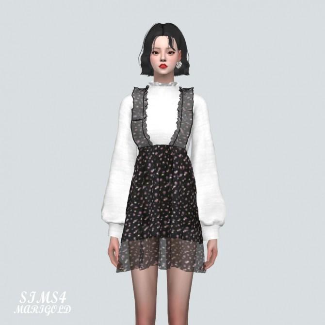 Sims 4 Spring Chiffon Frill Mini Dress V2 at Marigold
