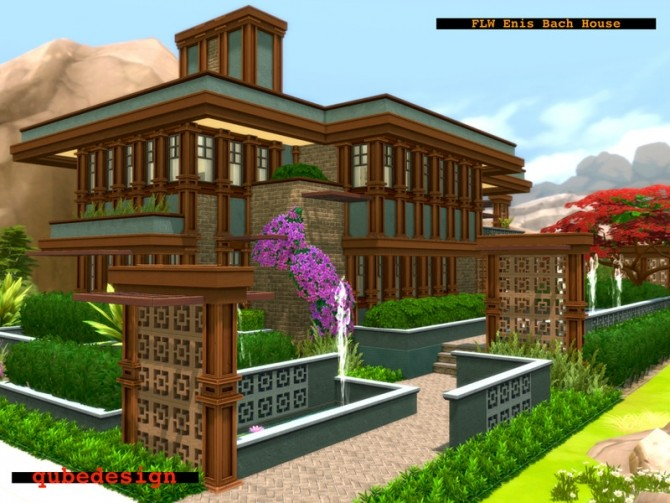 Sims 4 FLWs Enis Bach House NO CC by QubeDesign at TSR