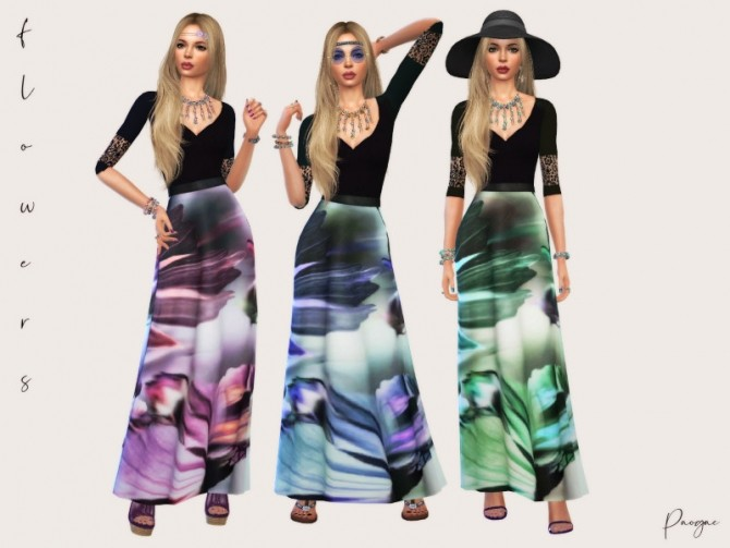 Sims 4 Flowers long dress by Paogae at TSR