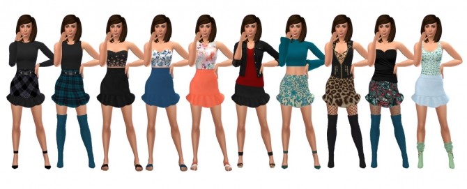 Sims 4 AAS RUFFLE SKIRT recolors at Sims4Sue