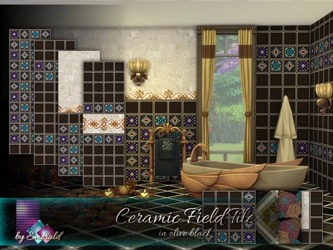 Sims 4 Ceramic Field Tile in olive black by emerald at TSR