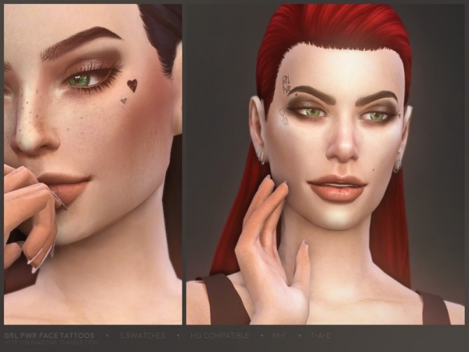 Grl Pwr face tattoos by sugar owl at TSR image 9917 670x503 Sims 4 Updates