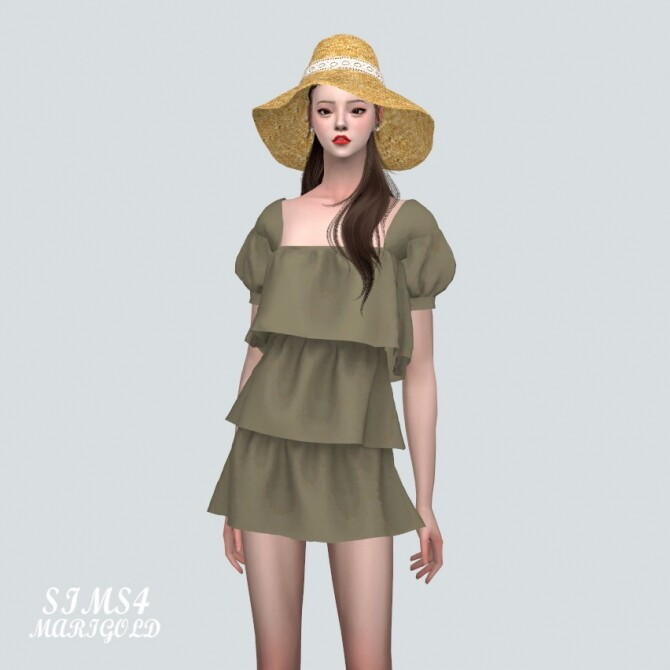 Puff Sleeves 3 Tiered Mini Dress at Marigold image 10618 670x670 Sims 4 Updates