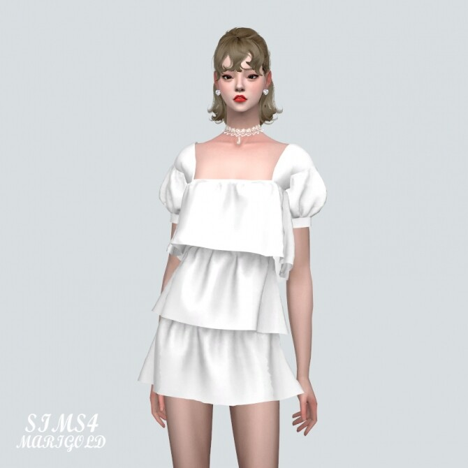 Puff Sleeves 3 Tiered Mini Dress at Marigold image 10719 670x670 Sims 4 Updates