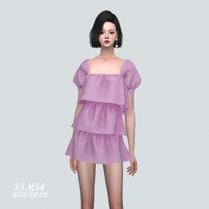 Puff Sleeves 3 Tiered Mini Dress at Marigold image 10819 670x670 Sims 4 Updates