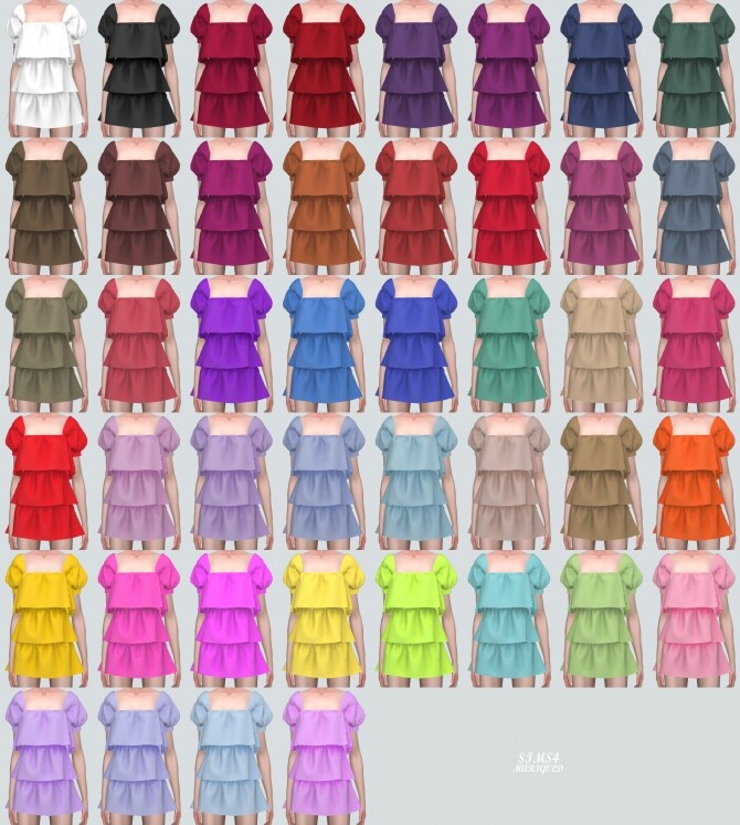 Puff Sleeves 3 Tiered Mini Dress at Marigold image 10919 670x747 Sims 4 Updates