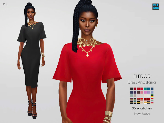 Dress Anastasia at Elfdor Sims image 110 Sims 4 Updates