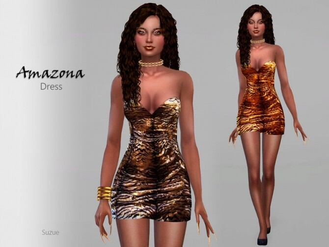 Amazona Dress by Suzue at TSR image 1100 670x503 Sims 4 Updates