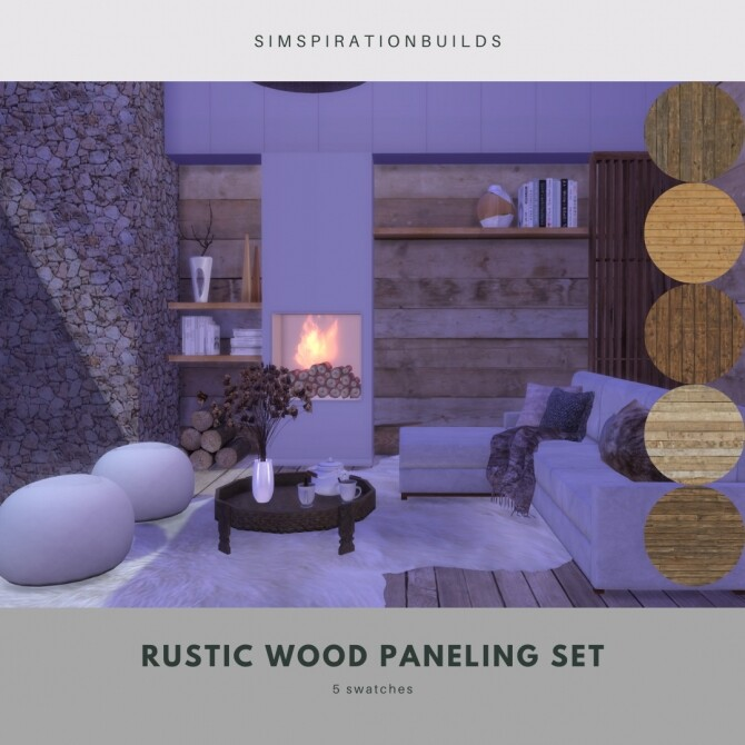 Rustic Wood Paneling Set at Simspiration Builds image 11020 670x670 Sims 4 Updates