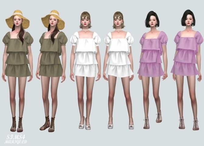 Puff Sleeves 3 Tiered Mini Dress at Marigold image 11022 670x479 Sims 4 Updates