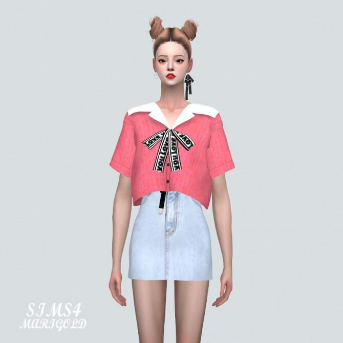 Sailor Collar Blouse With Bow at Marigold image 11516 670x670 Sims 4 Updates