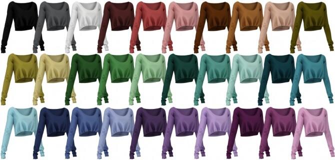 Sims 4 Strapless mini bodycon dress, Crop longsleeve & Wide leg pants at LazyEyelids