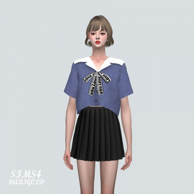 Sailor Collar Blouse With Bow at Marigold image 11617 670x670 Sims 4 Updates