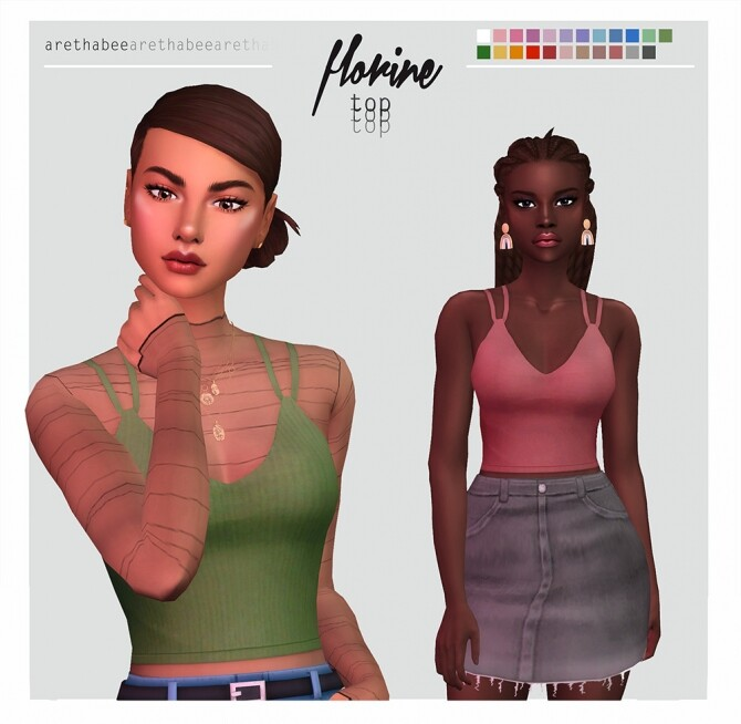 Florine plain & ribbed top with double straps at Arethabee image 1201 670x654 Sims 4 Updates