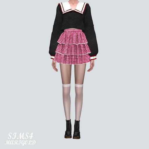 Sims 4 Tiered Mini Skirt at Marigold
