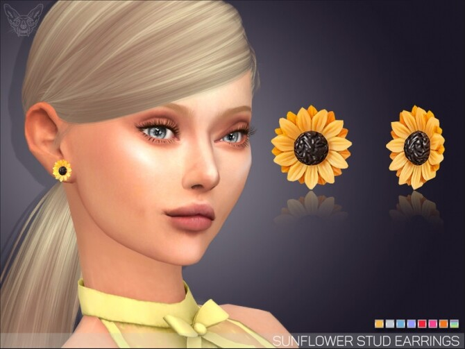 Sims 4 Sunflower Stud Earrings by feyona at TSR