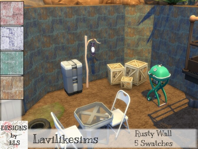 Rusty Wall by lavilikesims at TSR image 12612 670x503 Sims 4 Updates